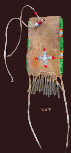 back of Plains Indian strike-a-lite pouch