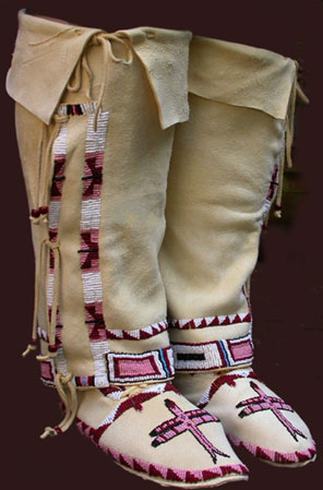 Plains Indian Moccasins with Leggings