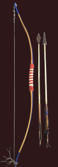 Plains Indian bow and arrows