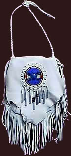 fringed buckskin bag